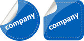 Company word on stickers button set, label — Stock Photo