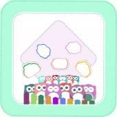 Happy owl family with speech bubble — Stock Photo