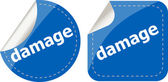 Damage word on stickers web button set, label, icon — Stock Photo