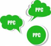 Ppc word on modern banner design template. set of stickers, labels, tags, clouds — Stock Photo