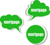 Mortgage word on modern banner design template. set of stickers, labels, tags, clouds — Stock Photo