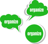 Organize. Set of stickers, labels, tags. Business banners, Template for infographics — Stock Photo
