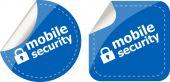 Mobiele veiligheid stickers label set tekstcodes geïsoleerd op wit — Stockfoto