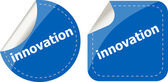 Innovation word on stickers button set, label — Stock Photo