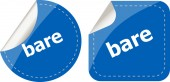 Bare word on stickers button set, business label — Stock Photo