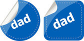 Dad word on stickers web button set, label, icon — Stock Photo