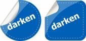 Darken word stickers web button set, label, icon — Stock Photo