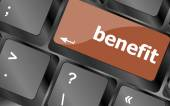 Benefit button on keyboard key with soft focus — Stockfoto