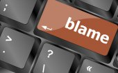Blame button on computer pc keyboard key — ストック写真