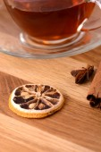 A cup of tea on wooden background — Stock Photo