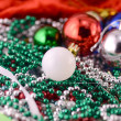 White christmas balls with diamonds set, new year decoration — Stock Photo #55992369