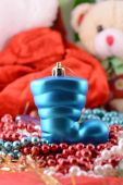 Blue christmas boot with gifts, new year holiday — Stock Photo