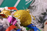 Christmas decorations, new year invitation card, drums and xmas balls — Stock Photo