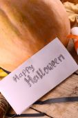Pumpkin on wooden table, happy halloween concept — Stock Photo