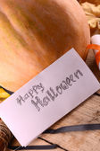 Pumpkin on wooden table, happy halloween concept — Foto de Stock