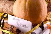 Pumpkin on wooden table, happy halloween concept — Stock Photo