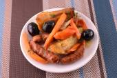 Fresh salad with olives sausage carrot — Stockfoto