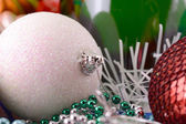 Christmas balls, new year decoration with champagne bottle — Stock Photo