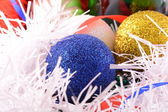 Blue and yellow Christmas balls close up — Stock Photo