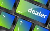 Dealer button on keyboard with soft focus — Stock Photo