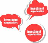 Investment opportunities. Set of stickers, labels, tags. Business banners, Template for infographics — Foto Stock
