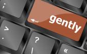 Gently word on computer pc keyboard key — Stock Photo