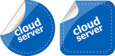 Cloud server computing concept, stickers label tag — Stock Photo