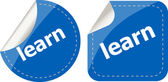 Learn word on stickers button set, label — Stock Photo