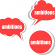 Ambitions word on modern banner design template. set of stickers, labels, tags, clouds — Stock Photo #56603453