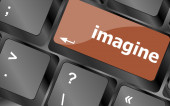 Imagine word on computer pc keyboard key — Stock Photo