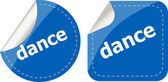 Dance word on stickers web button set, label, icon — Stock Photo
