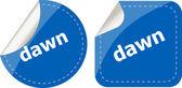 Dawn word stickers web button set, label, icon — ストック写真