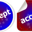 Black accept stickers set on white, icon button — Stock Photo #56763043