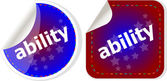 Ability word stickers set icon button isolated on white — Stock Photo