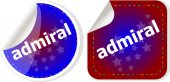 Admiral word stickers set, icon button, business concept — Stock Photo