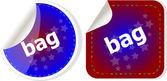 Bag word on stickers button set, label, social concept — Stockfoto