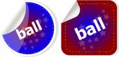 Ball word on stickers button set, label — Stockfoto