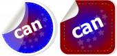Can word stickers set, web icon button — Stock Photo