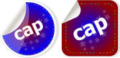 Cap word stickers set, web icon button — Stock Photo
