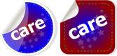 Vård ordet klistermärken set, web icon-knappen — Stockfoto