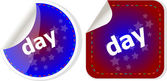 Day word stickers web button set, label, icon — Stock Photo