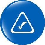 White tick mark on a web button. Isolated on white background — Stock Photo #57125843