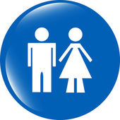 Pulsante con icona igienici, uomo e donna icona isolato su priorità bassa bianca — Foto Stock