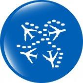 Plane set on icon glossy button isolated on white — Stock Photo