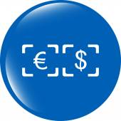 Currency exchange sign icon. Currency converter symbol. Money label. shiny button — Stock Photo