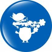 Button mit Eule, Vogel und Baum, isoliert auf weiss — Stockfoto