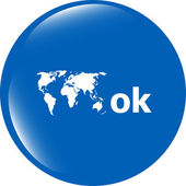 Ok word with world map on sign web icon. web button — Stock Photo