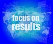 Life style concept: words focus on results on digital touch screen — Stock Photo