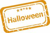 Scary Halloween discounts graphic design label on white background — Stock Photo
