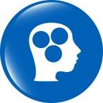 Idea head circle glossy icon isolated on white background — Stock Photo #57347255